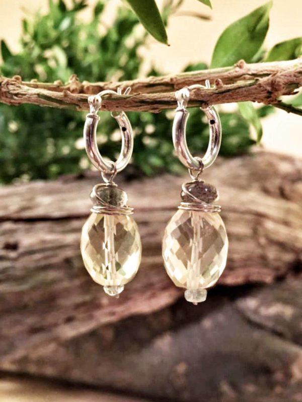 Lemon Quartz and Labradorite Sterling Earrings