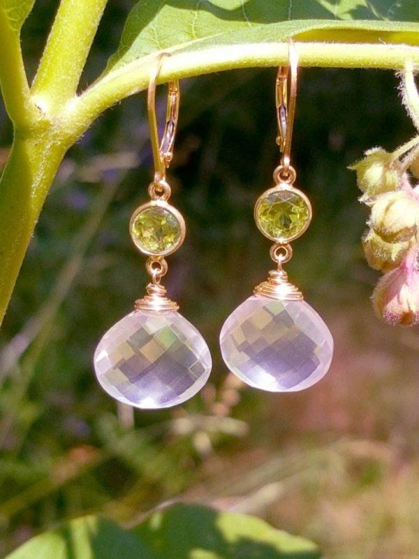 Rose Quartz and Peridot Gemstone Earrings