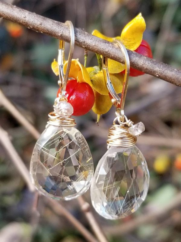 Large Rutilated Quartz Gemstone Earrings