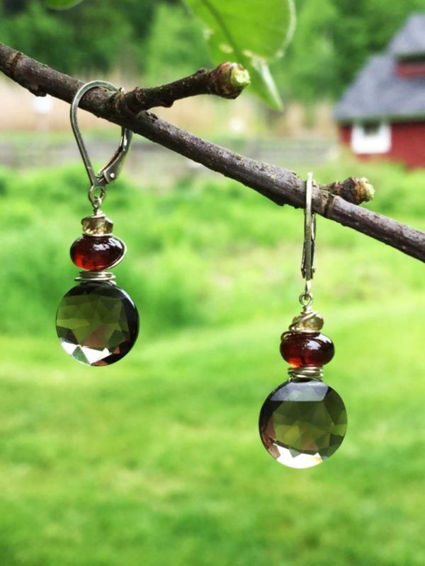 Smokey Quartz and Garnet Gemstone Earrings