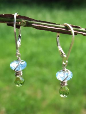 Peridot and Blue Topaz Gemstone Earrings