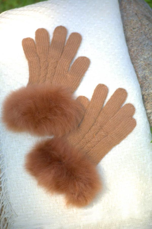 Baby Alpaca Fur Trimmed Gloves