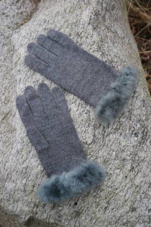 Baby Alpaca Fur Trimmed Gloves