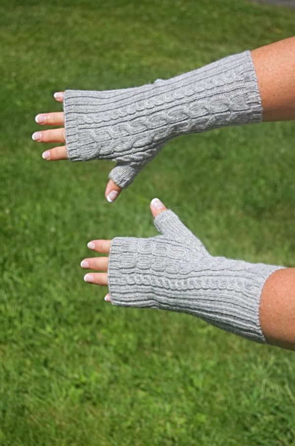 Pure Baby Alpaca Cable and Rib Handwarmers