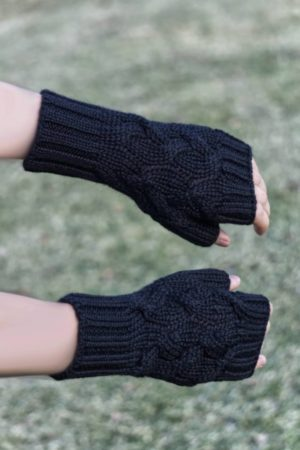 Pure Baby Alpaca Chunky Cabled Hand Warmers