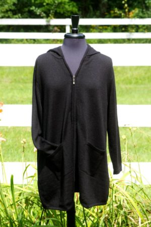 Pure Baby Alpaca Draped Zip Jacket with Hood