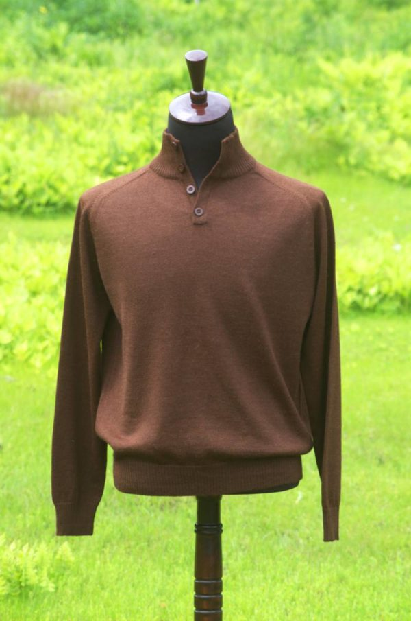 Pure Baby Alpaca Men's Classic Button Pullover