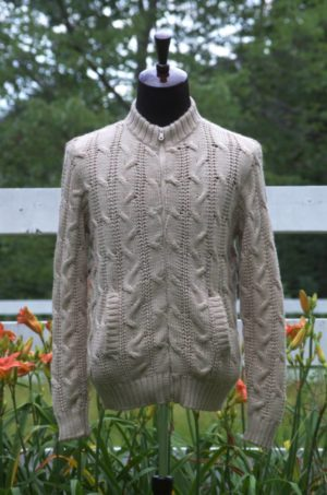 Men's Pure Baby Alpaca Cabled Jacket