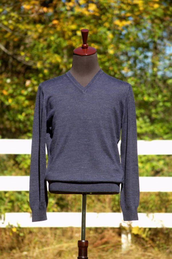 Mens Pure Baby Alpaca V-Neck Sweater