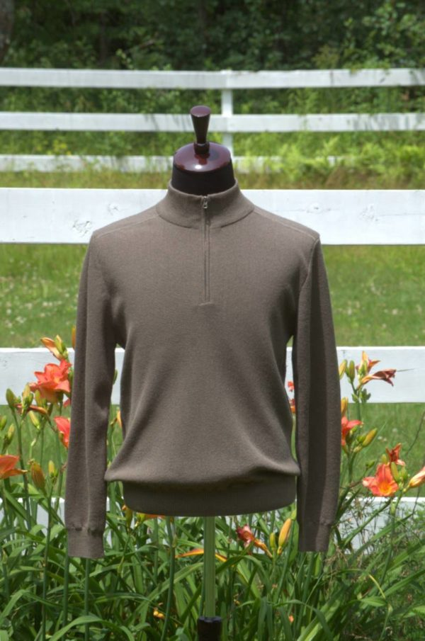 Men's Pure Baby Alpaca Half Zip Sweater