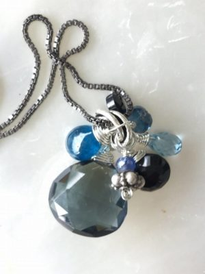 Slate Blue Quartz Gemstone Necklace