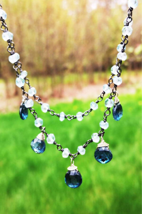 Indigo Kyanite And London Blue Topaz Necklace