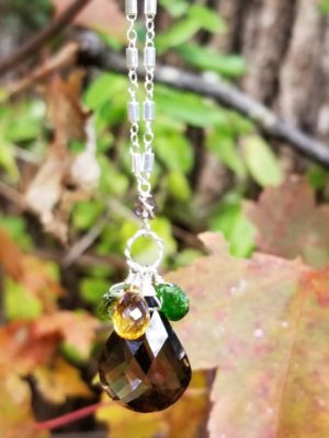 Large Smoky Quartz, Citrine, Peridot Gem Necklace