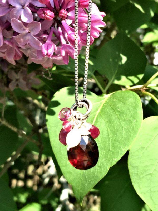 Garnet and Sapphire Gemstone Necklace