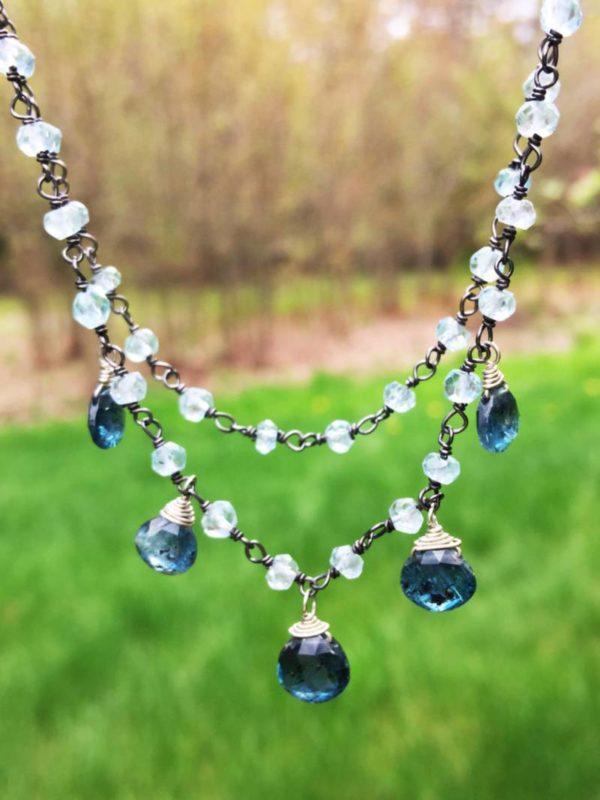 Indigo Kyanite and London Blue Topaz Necklace