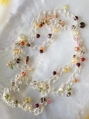 Extra Long Multi Gemstone Necklace