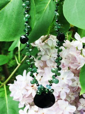 Black Onyx and Green Sapphire Necklace
