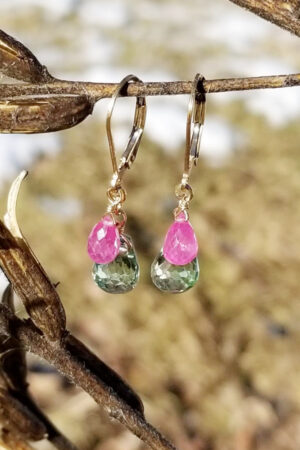 Brilliant Prasiolite And Ruby Earrings