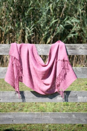 Handwoven Baby Alpaca Rose Colored Shawl