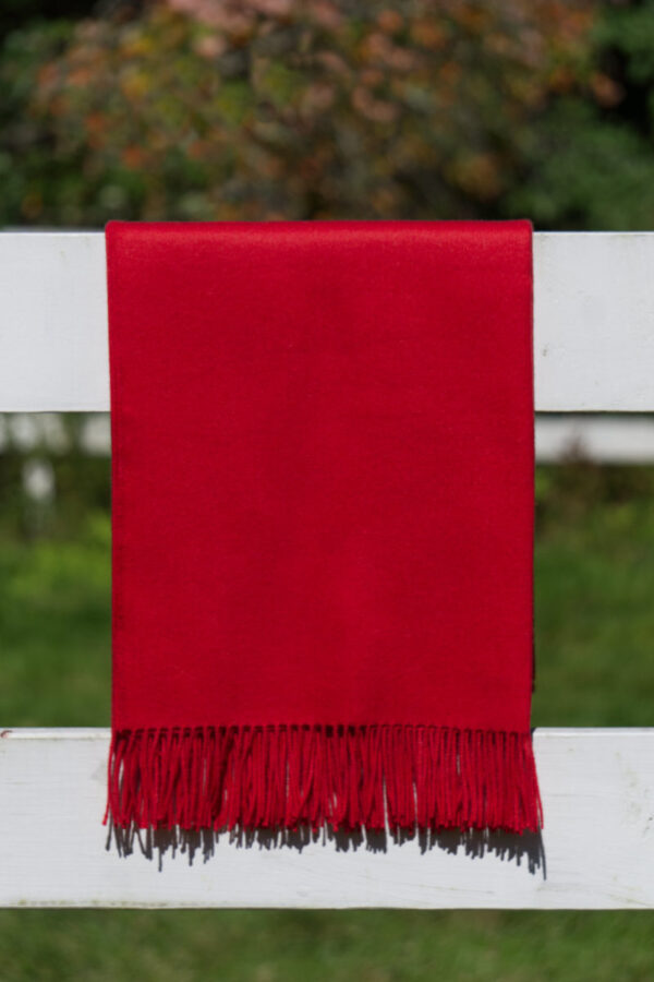 Alpaca blanket and sofa throw in scarlet red.