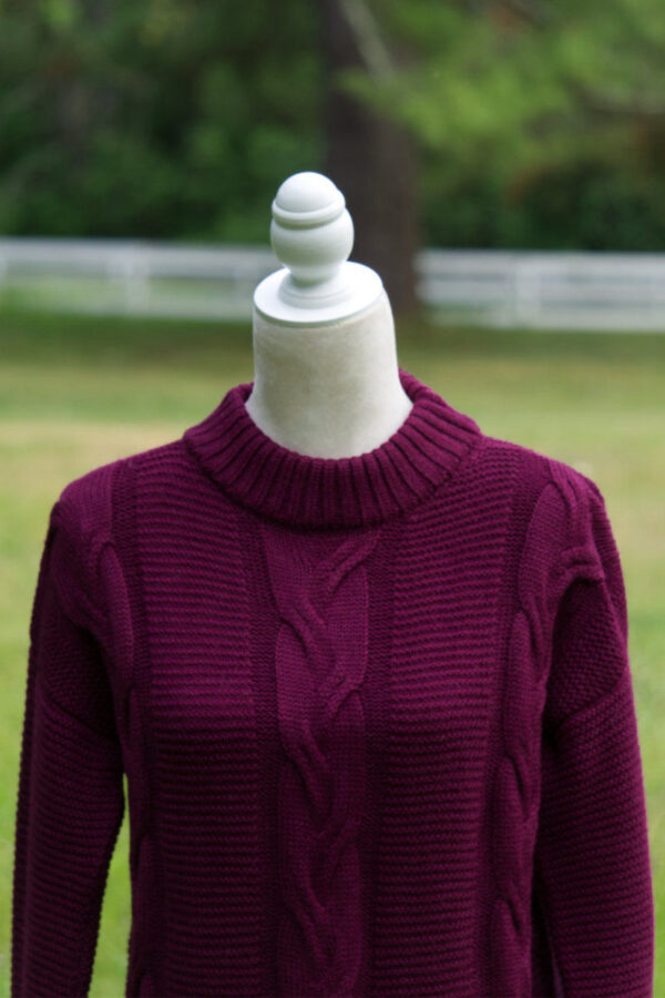 Women's cable alpaca sweater in beautiful wine color