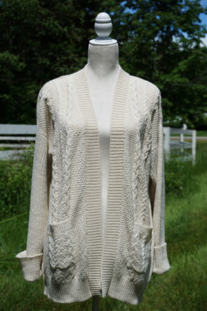 100% Pure Baby Alpaca Cabled Textured Cardigan In Cream