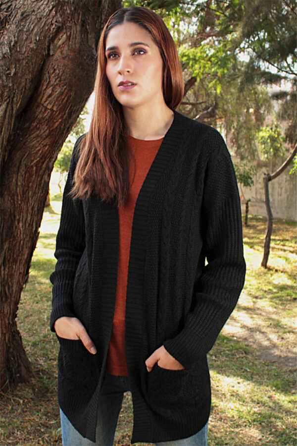 100% Pure Baby Alpaca Cabled Textured Cardigan In Black