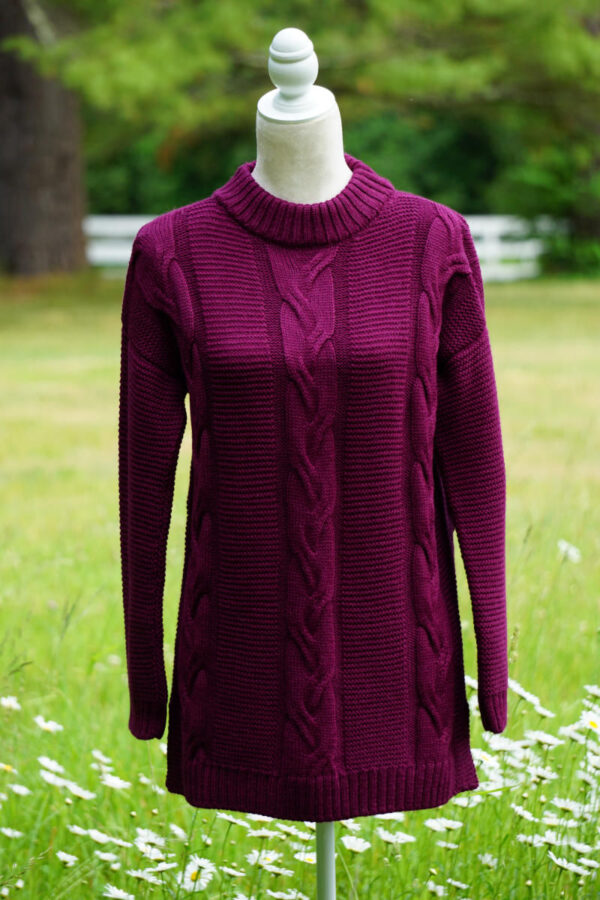 A gorgeous cable sweater in wine color made from 100% baby alpaca fiber
