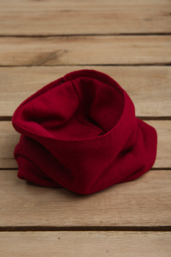 Baby alpaca neck gaiter in ruby red