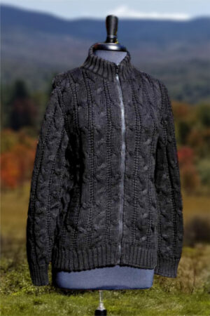 Women's Baby Alpaca Cabled Zip Jacket