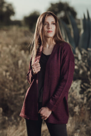 Women's Pure Baby Alpaca Open Cardigan in Wine Color