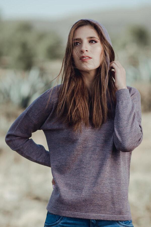 Women's Baby Alpaca Hooded Hi Lo Pullover Sweater