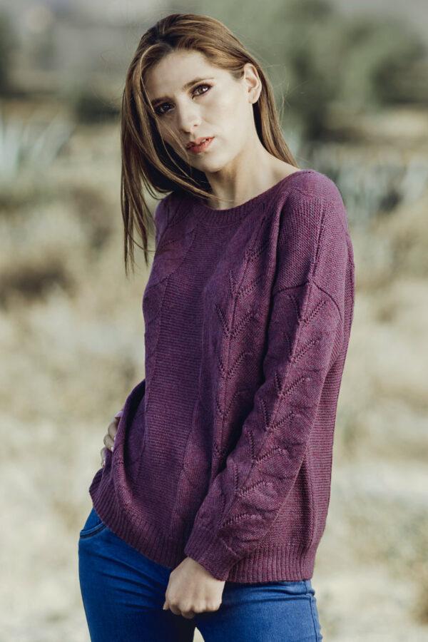 Women's Pointelle Lace Sweater in Baby Alpaca