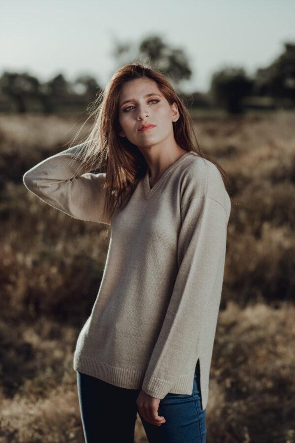 Women's Baby Alpaca V Neck Sweater