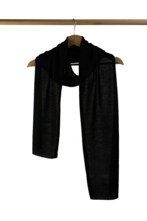 Black Alpaca Knit Scarf For Men And Women