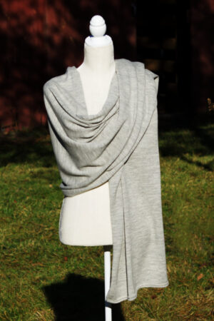 Pure Baby Alpaca Wrap and Shawl In Silver Color