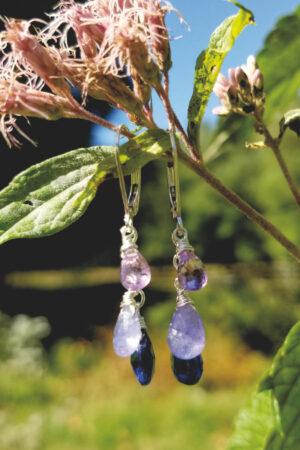 Kyanite, Amethyst and Tanzanite Sterling Silver Earrings