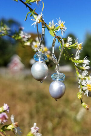 Silver Fresh Water Pearl and Blue Topaz Earrings
