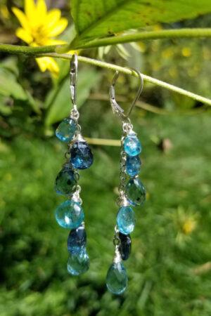 Indigo Kyanite and Apatite Gemstone Earrings