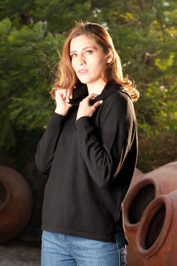 Women's Baby Alpaca Hi Lo Hooded Pullover