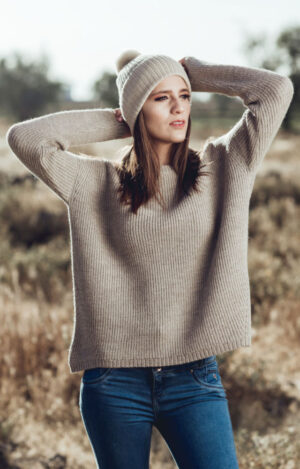 Pure Alpaca Fisherman's Knit Sweater