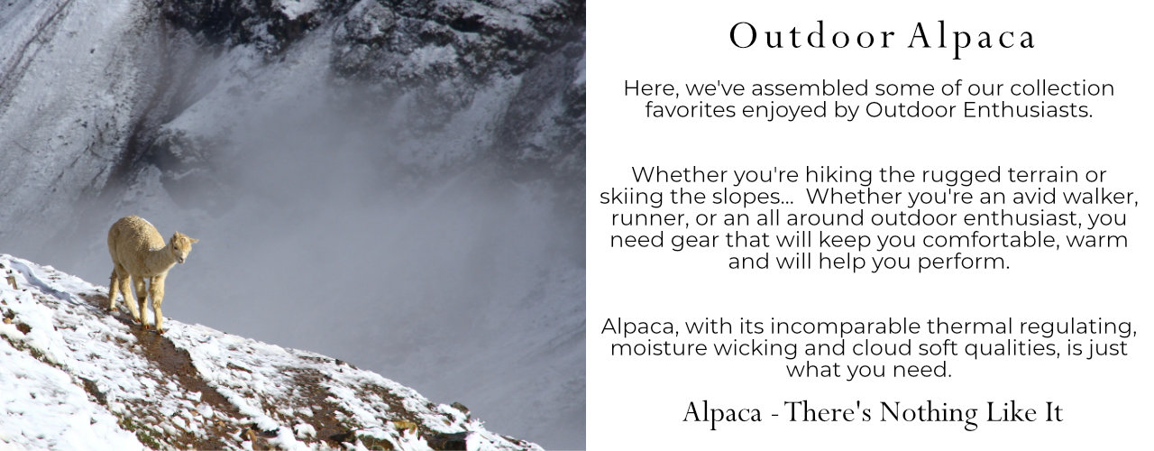 Alpaca gear for skiers, hikers, runners, walkers and outdoor enthusiasts.