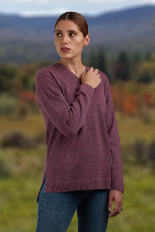 Women's Baby Alpaca V-Neck Sweater