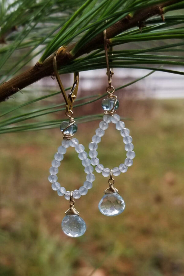 Aquamarine And Chalcedony Earrings
