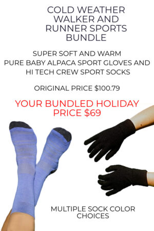 100% Pure Baby Alpaca Sport Gloves and High Tech Alpaca Sport Crew Socks