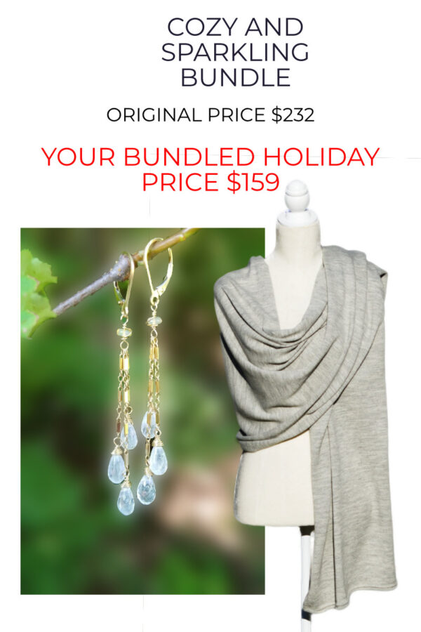 Alpaca Wrap and Gemstone Earring Bundle At Over $70 Off