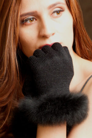 Women's Alpaca Fur Trimmed Gloves