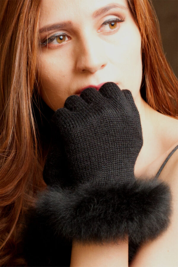 Women's Alpaca Fur Trimmed Gloves