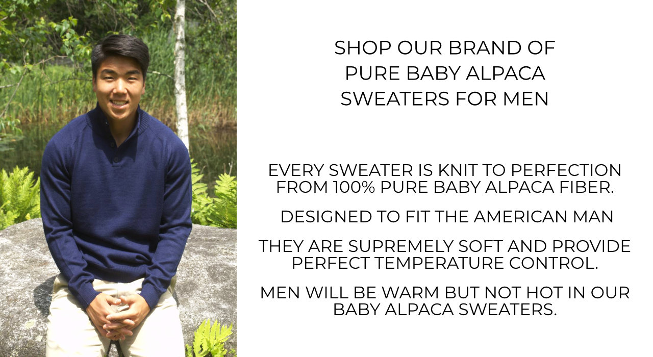 Shop Alpaca Sweaters For Men. Mt. Caesar Alpacas Brand of men's alpaca sweaters are made to the highest standards from 100% baby alpaca fiber.