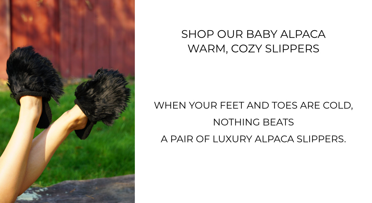 Shop alpaca slippers. Full foot alpaca slippers and slide on alpaca slippers.